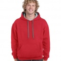 185C00 Adults Contrast Hoodie - Red / Sports Grey