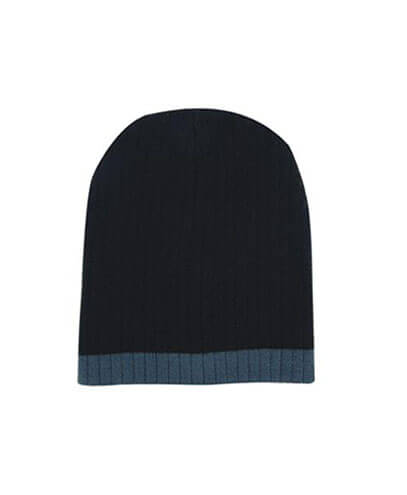 4195 Two Tone Cable Knit Beanie - Black / Charcoal