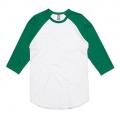 5012 Adults Raglan T-shirt - White / Kelly Green