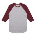 5012 Adults Raglan T-shirt - Grey Marle / Burgundy