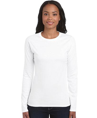 64400L Womens Lightweight Long Sleeve T-shirt - White