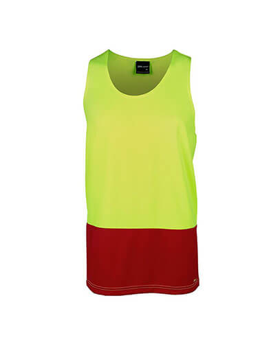 6HTS Adults Hi Viz Singlet - Lime Red - Front