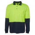 6HVPL Adults Hi Viz Long Sleeve Polo - Lime / Navy