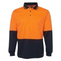 6HVPL Adults Hi Viz Long Sleeve Polo - Orange / Navy