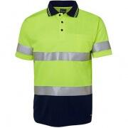 6HVST Adults Hi Viz D+N Short Sleeve Polo - Front