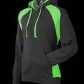 Adults Huxley Contrast Hoodie - Black / Kawa Green