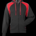 1511 Mens Panorama Contrast Zip Hoodie - Black / Red