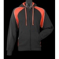 1511 Mens Panorama Contrast Zip Hoodie - Black/Orange Front