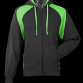 2511 Womens Panorama Contrast Zip Hoodie - Black / Kawa Green