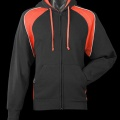 2511 Womens Panorama Contrast Zip Hoodie - Black/Orange Front
