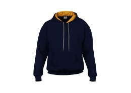 Navy pullover hoodie with contrast gold yellow hood lining