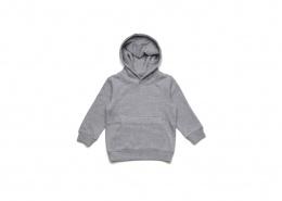 Grey marle kids pullover hoodie, laid flat