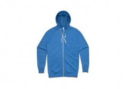 Blue zip hoodie with white zip and drawstrings, laid flat