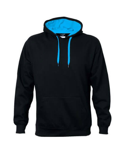 CHD Adults Custom Contrast Hoodie - Black/Aqua