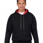 185C00 Adults Contrast Hoodie - Black / Red