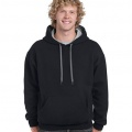 185C00 Adults Contrast Hoodie - Black / Sports Grey