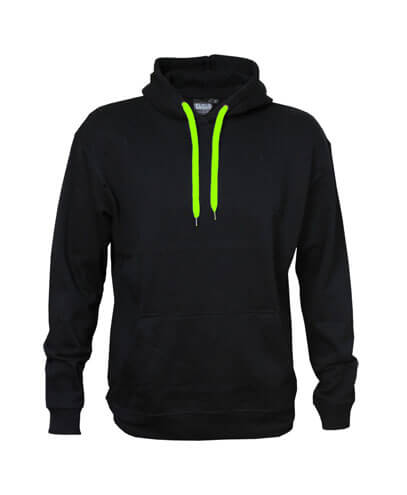 DCH Adults Contrast Drawcord Hoodie - Black/Neon Green