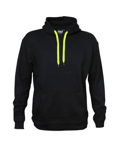 DCH Adults Contrast Drawcord Hoodie - Black/Neon Yellow