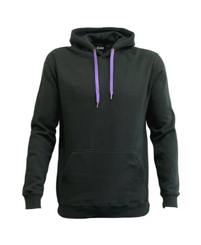 DCH Adults Contrast Drawcord Hoodie - Black/Purple