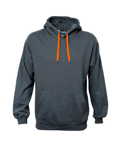 DCH Adults Contrast Drawcord Hoodie - Charcoal/Neon Orange