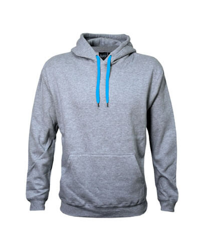 DCH Adults Contrast Drawcord Hoodie - Grey Marle/Aqua