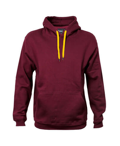 DCH Adults Contrast Drawcord Hoodie - Maroon/Gold