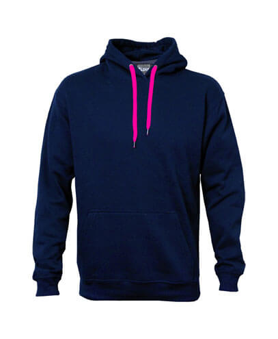 DCH Adults Contrast Drawcord Hoodie - Navy/Fuchsia