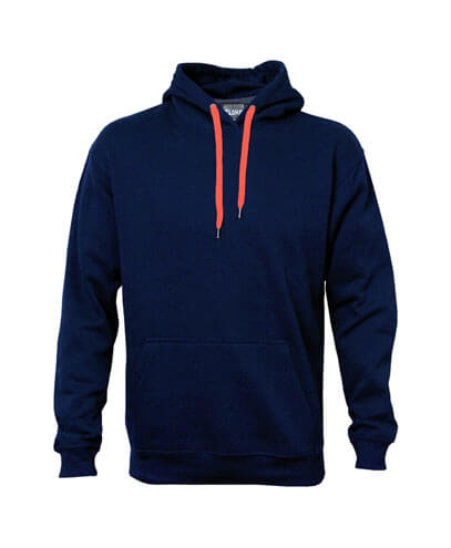 DCH Adults Contrast Drawcord Hoodie - Navy/Orange