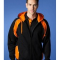 1511 Mens Panorama Contrast Zip Hoodie - Black / Orange