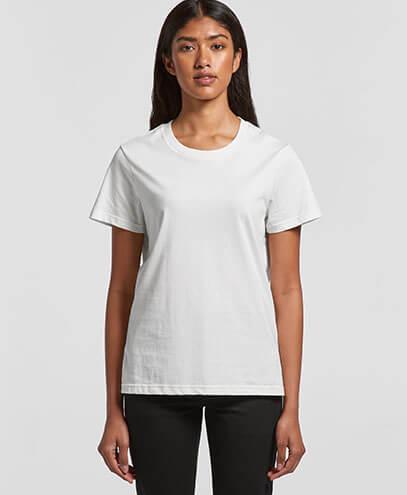 4051 Womens Basic Tee in White, worn by Female Model