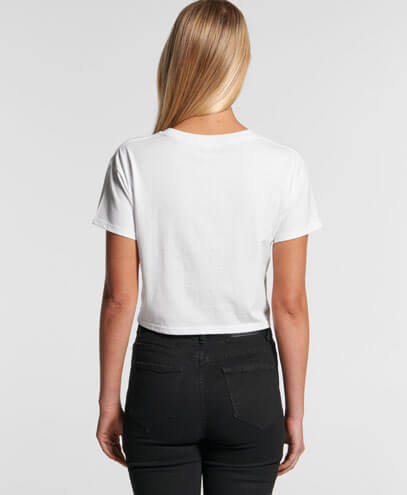 4062 Womens Crop Tee - Back View, on Female Model