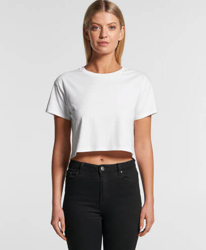 4062 Womens Crop Tee in White, Worn by Female Model