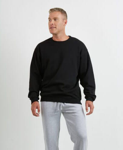 CSI Adults Crew Neck Sweatshirt - Black - Worn by Male Model