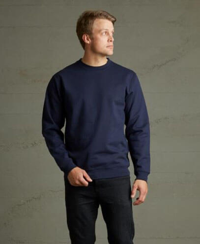 TCR 360 Adults Crew Neck Sweatshirt - Navy - Worn by Male Model