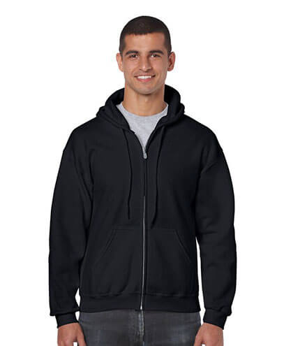 18600 Mens Basic Zip Hoodie - Black