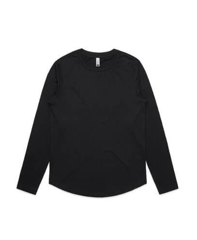 4055 Womens Curve Long Sleeve T-shirt - Black