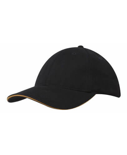 4210 Brushed Heavy Cotton Baseball Cap - Black/Gold