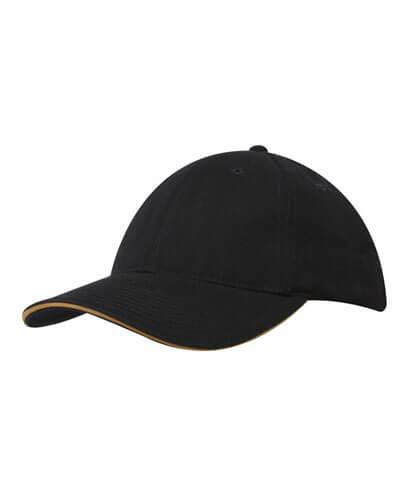 4210 Brushed Heavy Cotton Baseball Cap - Black/Gold