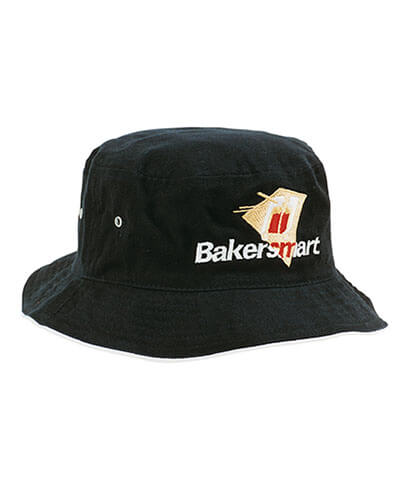 Brushed Sports Twill Bucket Hat - Black - With Embroidered Logo