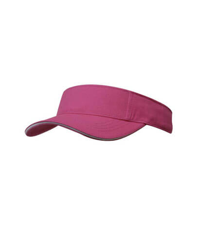 4230 Brushed Heavy Cotton Visor - Pink/White