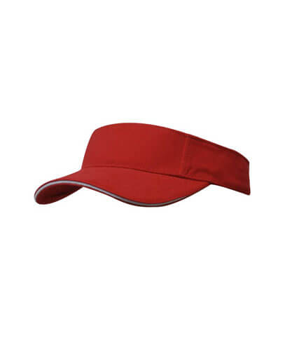 4230 Brushed Heavy Cotton Visor - Red/White