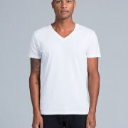 5003 Mens Tarmac V-Neck White T-shirt - Worn