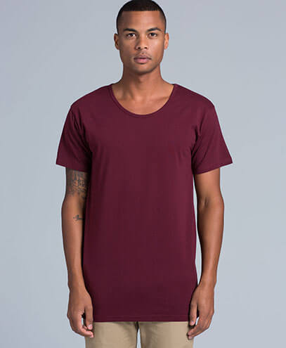 5011 Mens Shadow Scoop Maroon T-shirt - Worn