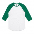 5012 Adults Raglan T-shirt - White / Kelly Green