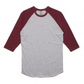 5012 Adults Raglan T-shirt - Grey Marle / Burgundy
