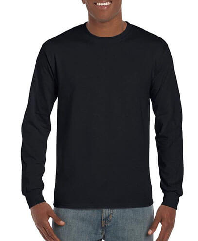5400 Adults Heavy Cotton Long Sleeve Tee - Black