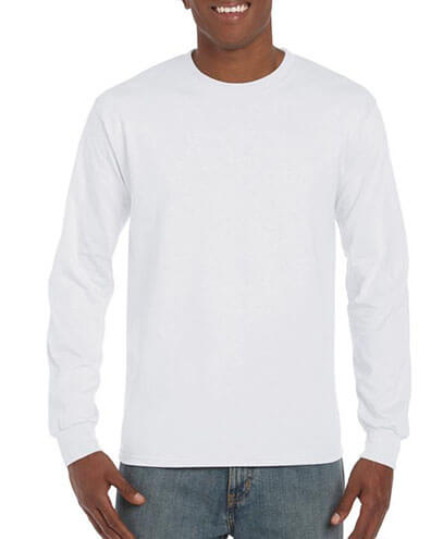 5400 Adults Heavy Cotton Long Sleeve Tee - White