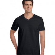 64V00 Mens Basic V-Neck T-shirt - Black
