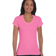 64V00L Womens Basic V-Neck T-shirt - Azalea