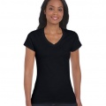 64V00L Womens Basic V-Neck T-shirt - Black